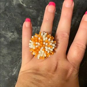 Orange and white beaded stretchable ring